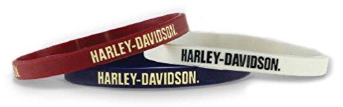 Harley-Davidson Debossed Nostalgic H-D Silicone Wristband, 3 Pack WB28484