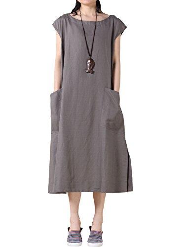 Mordenmiss Women's Cotton Linen Dresses Cap Sleeve Summer Dress with Pockets XL-Gray...