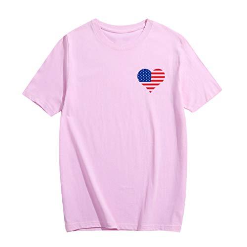 Sunhusing Unisex Round Neck Short Sleeve Plus Size T-Shirt Love Heart Shape American Flag Print Tops Parent-Child Shirt (L, Pink)