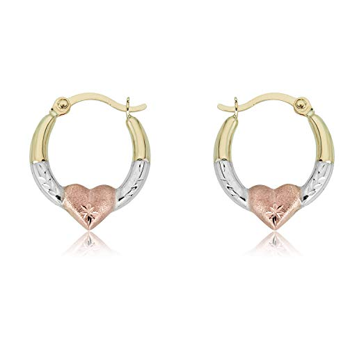(10K Gold Three-Tone Heart Creole Hoop Earrings)