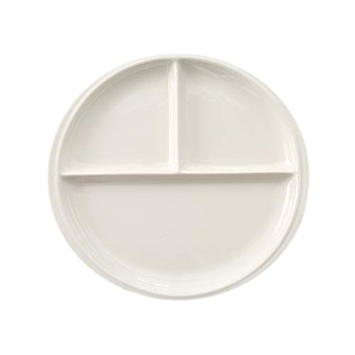 FLYING BALLOON Elegant Round Shaped Ceramic Divided Plate Dinner Plates Luncheon Plates Salad Plates Dishes for Kitchen, White/Dark Blue (1, White-Round)