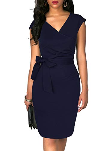 (TuoGo Women's Wrap V-Neck Ruched Bodycon Belted Knee-Length Casual Work Party Cocktail Black Pencil Dress (S, 8002-Navy))