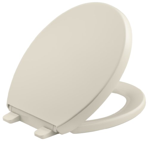 KOHLER K-4009-47 Reveal Quiet-Close with Grip-Tight Bumpers Round-front Toilet Seat, Almond
