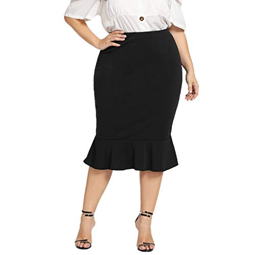 ZSBAYU Women's Elastic Waist Plus Size Solid Casual Sexy Work Elastic Waistband Knee Mermaid Hem Ruffle Pencil Skirts(Black,XL) Beading Applique Sweetheart Floor