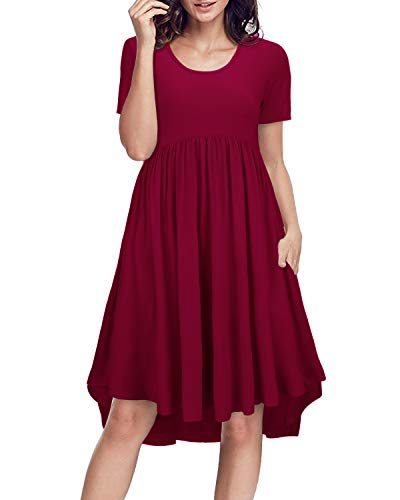 (II ININ Women's Round Neck Short Sleeve Loose Swing Casual Midi Dress with Pocket(Wine,M))