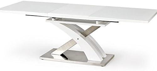 Sellon - Mesa de comedor (cristal blanco, extensible y cristal de color blanco, tablero de fibra de densidad media blanca): Amazon.es: Hogar