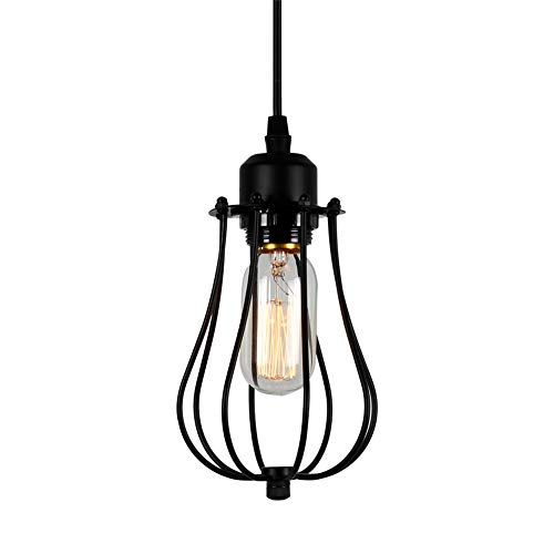 T&A Vintage Industrial Hanging Lighting Edison Ceiling Lamps Oil Rubbed Iron Wire Caged 1-Light Mini Grapefruit Pendant Lights