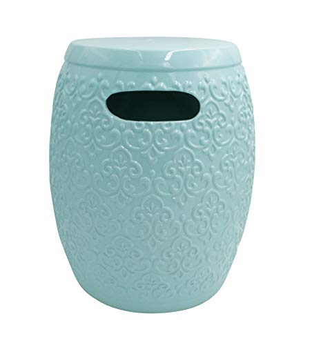 "Ravenna Home Traditional Damask Ceramic Garden Stool or Side Table,  16"" H,Light  Blue from Ravenna Home"