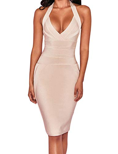 UONBOX Women's Sexy Halter V Neck Knee Length Party Rayon Bodycon Bandage Dress (Nude, M)