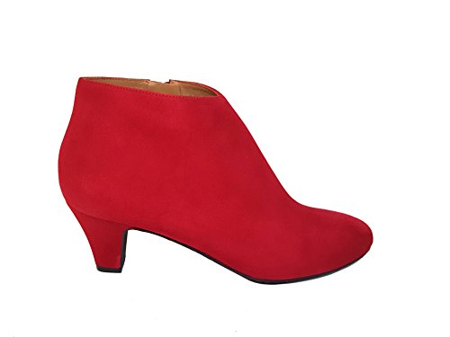 Leather Winston Red 40 Heel Size with Women´s Ankle Suede ELIPE Low Leather Boots GENNIA wAUHt6qt