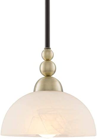 Kira Home Athena 8 Modern Pendant Light Alabaster Glass Shade, Antique Brass Accents, Adjustable Hanging Height, Oil Rubbed Bronze Finish