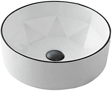 WJ 洗面台 バスルームの洗面台、ラウンドセラミック(タップ無し)カウンタ上流域浴室ホテル技術流域単一流域、利用可能な2色 /-/ (Color : White)