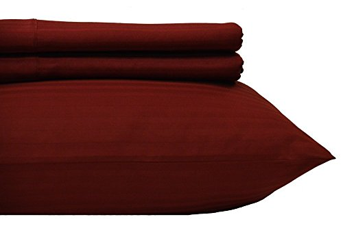 (Royal's Stripe Burgundy 500 Thread Count 4pc Queen Bed Sheet Set 100% Cotton, Sateen Stripe, Deep Pocket)