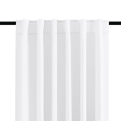 Pure White Curtains Room Darkening Panels for Bedroom Back Tab / Rod Pocket Thermal Insulated Window Drapes - 52 x 63 Inches - 2 Panels