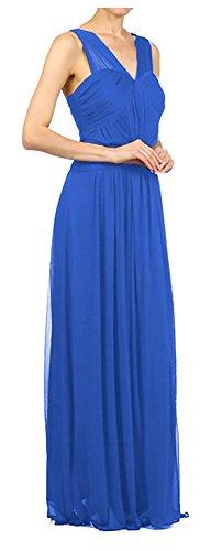 Brautjungfernkleid Chiffonkleid Lang Abschlussball Brautkleid Elegant Abendkleid für Royalblau Festlich Hochzeit Kleid qwIxUR