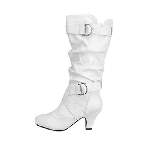 DETAIWIN Womens High Heel Boots Buckle Strap Faux Leather Round Toe Winter Walking Mid Calf Boots