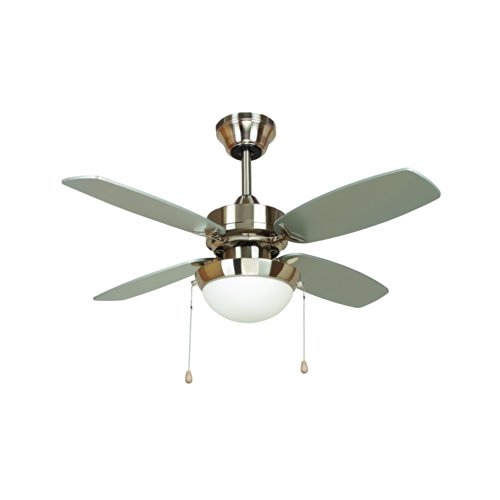 Ashley Brush (Yosemite Home Decor ASHLEY-BBN 36-Inch Ceiling Fan in Bright Brush Nickel Finish, Burnished)