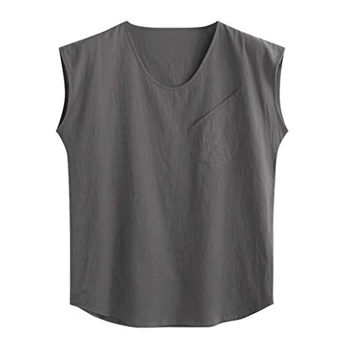 Benficial Men's Baggy Cotton Linen Solid Pocket Sleeveless O-Neck Vest Tank Tops Blouses 2019 Summer Gray