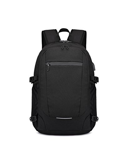 MIC Business Waterproof Polyester Laptop Backpack with USB Charging Port and Lock & Headphone interface for College Student Work Men & Women,Fits Under 15.6-Inch Laptop Notebook (Black)
