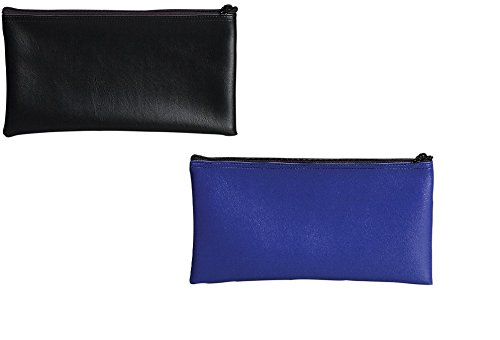 PM Company Securit Bank Deposit / Utility Zipper Coin Bag Combo Pack, 11 X 6 Inches, Black (04621) & Blue (04620) - Zipper Cash Envelopes