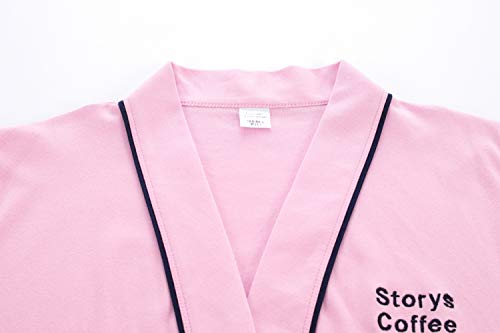 Yifen Para Bolsillos Rosado 100 Hombres Cinturón Kimono Unisex Algodón Mujeres Wrap Con Bata Y HvHqTrgxw