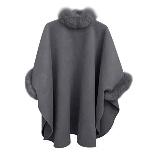 fourrure Mode col Cape fourrure de et manteau Gris laine Femmes Chale hiver col Gris Col et long Manteau Parka Manteau de Toamen de Automne moyen Manteau M en BwSq1fZ