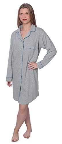 Beverly Rock Women's Soft Jersey Knit Cotton Blend Button Down Sleep Shirt Pajama Top with Piping Finish Y18_WPJ01 Heather 3X by Beverly Rock
