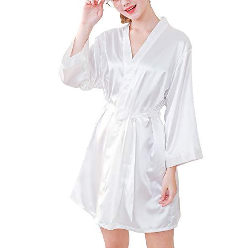 - Lu's Chic Women's Satin Kimono Robe Short Silk Bridesmaid Loungewear Wedding Party Bathrobes White US M (TagL)