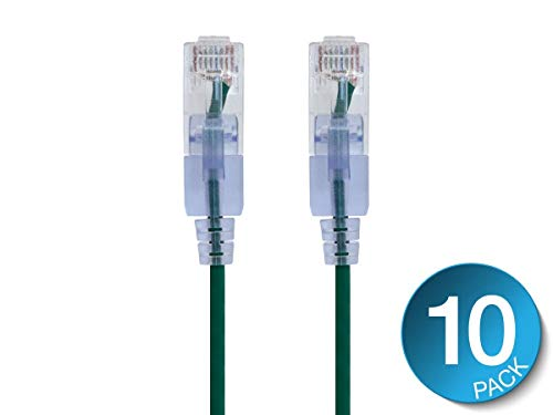 (Monoprice Cat6A Ethernet Patch Cable- 14 feet- Green | Snagless RJ45 550Mhz UTP Pure Bare Copper Wire 10G 30AWG 10-Pack - SlimRun Series )