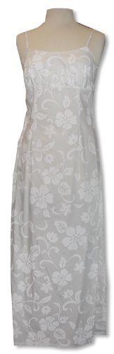 Empire Waist Long Sundress - Classic Hibiscus Spaghetti Strap Hawaiian Aloha Tailored Fit Ankle Length Sun Dress in Wedding White - M ()