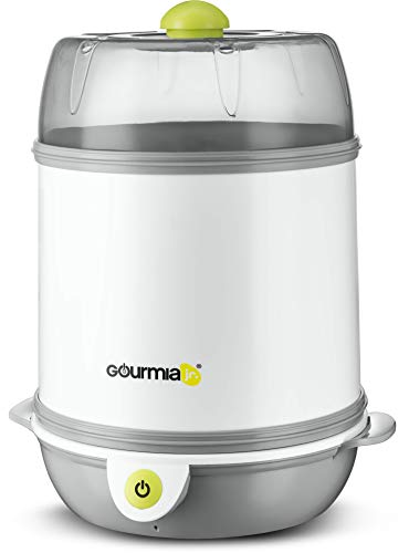 Gourmia Jr. Baby Bottle Sterilizer, 7-Bottle Sterilizing Chamber, Single-Button Operation, Stainless Steel Heating Plate, Dishwasher-Safe Removable Parts, JBS100, ETL-Certified