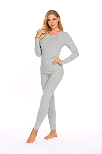 Ekouaer Thermal Underwear Women's Cotton Long Johns Set Scoop Neck Top & Bottom Pajama Winter Base Layering Set, Grey, Large by Ekouaer (Image #1)