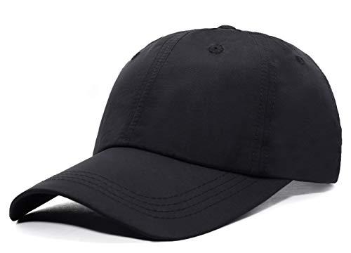 ELLEWIN Unisex Classic Plain Baseball Cap UPF 50 Unstructured 6 Panel Dad Hats,Black ()