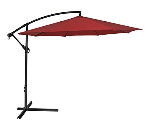 HERMO 108C2 Roun 10 Ft Outdoor Cantilever Patio Hanging Table Umbrella, red