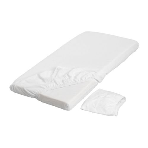 "IKEA Len 28""x52"" Fitted 100% Cotton Crib Sheets, White - Package Quantity: 2 Sheets"