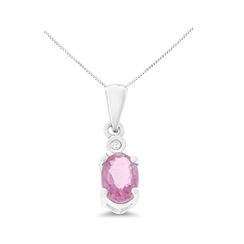 (0.55CTW 14K White Gold Genuine Natural Pink Sapphire and Diamond Pendant With Square Box Chain Necklace)