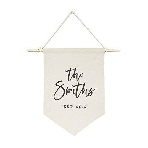 Canvas Birthday Banner - The Cotton & Canvas Co. Personalized Family Name with Est. Date Classic Hanging Wall Canvas Banner, Wall Art, Home and Bedroom Decor