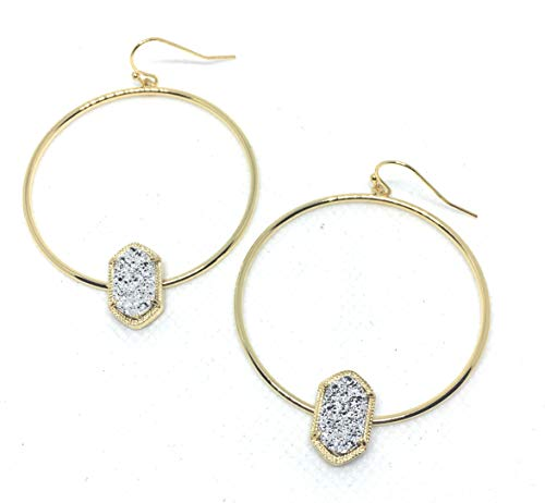 Inspired Fashion Jewelry Drusy Hoop Earrings in Diamond Dust in Silver and Gold Tone (Gold Metal Tone)
