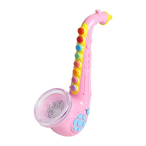Musical Wind Instruments - Kids Saxophone - Wind Instrument Preschool Musical Toy with Light & Sound (Pink)