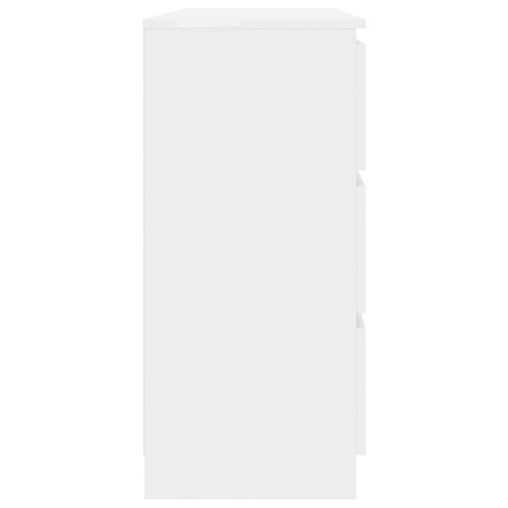 Tidyard Aparador de aglomerado Blanco Brillante con 6 cajones 120x30x77 cm