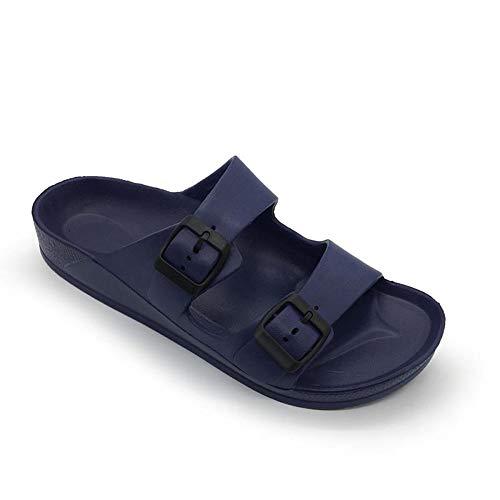 FUNKYMONKEY Women's Comfort Slides Double Buckle Adjustable EVA Flat Sandals (10 M US-Women, Navy)