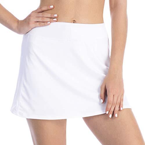 (iooho Women's Active Athletic Skirt Lightweight Skort with Hidden Pockets for Running Tennis Golf Workout (White,)