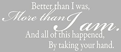 Wall Décor Plus More WDPM1328 More Than I Am. By Taking Your Hand Wall Vinyl Sticker Quote 27-Inch W by 11-Inch H, White