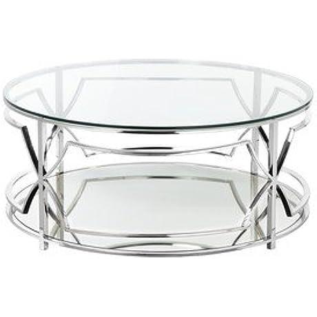Pangea Home Z Z Edward Round CT Steel Coffee Table High Polish Steel