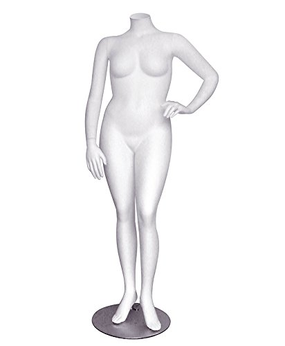AMKO Janet/1 Headless Female Mannequin – Plus-Size Female Torso with Base, Foot, Calf Support. Dress Forms and Mannequins