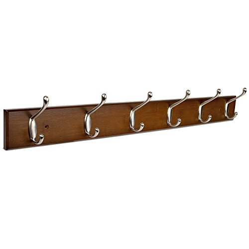 Homfa Bamboo Hook Rack with 6 Dual Scroll Wall Hanger Hooks for Jackets, Coats, Hats, Scarves Retro color