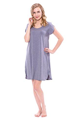Atlantic Jersey (TexereSilk Women's Nightgown - Short Sleeve Jersey Night Dress - Sleepwear Ladies Pajamas (Heather Atlantic, X-Large))