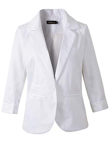 Women's Boyfriend Blazer Tailored Suit Coat Jacket (TG-503 White, XL)