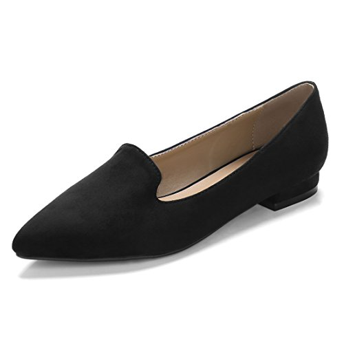 Allegra K Women's Slip On Padded Insole Pointed Toe Loafer Flats (Size US 9) (Womens Black Suede Loafers Shoes)