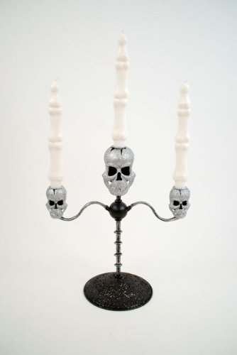 180° Skull Candelabra Halloween Gothic Decor New Creepy Fun -